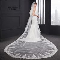 Wedding Veil 3.5 m Long Two Layers 2018 Crystals Rhinestones Lace BlingBling Real Images Cathedral Bridal Veils with Comb