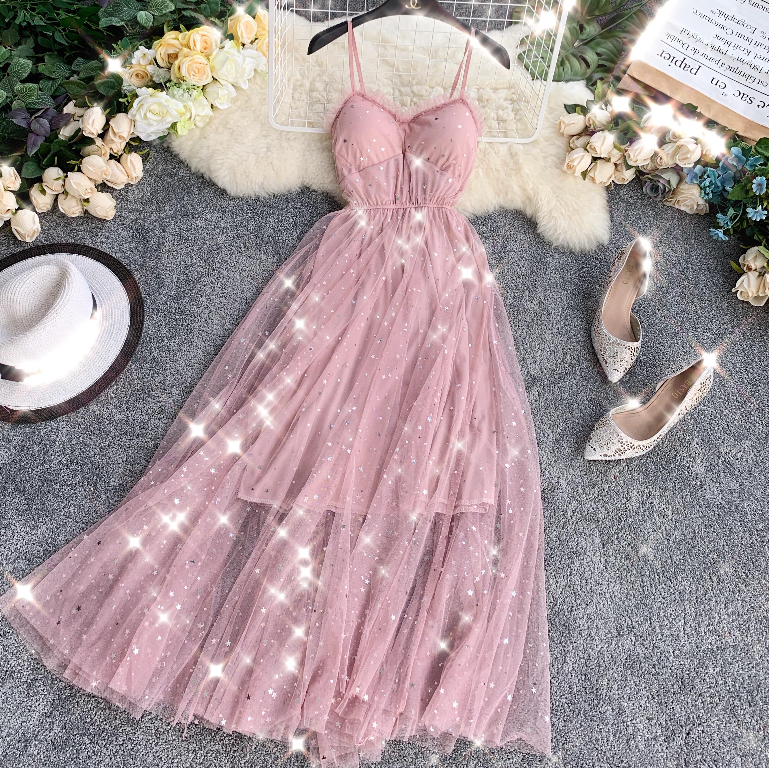 Sequins V-Neck Gauze Ruffles Mesh A-Line Dress 2