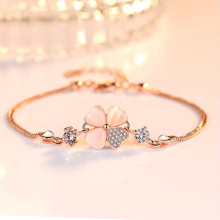 Love Good Luck Four Leaf Grass Clover Bracelet  for Women Best Fashion Bangle Sweet Heart Rose Gold Color Cuff