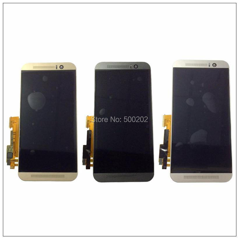 10pcs Tested New LCD Display Digitizer Touch Screen Panlel Assembly with Frame For HTC ONE M9 Black White Gold DHL Free Shipping top quality lcd screen display touch digitizer assembly with frame for htc one m9 phone repair parts white gold black