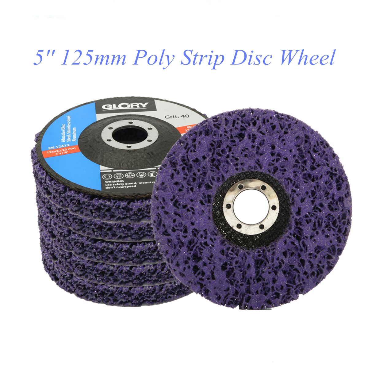 2Pcs 125mm Poly Strip 46 Grit Disc Abrasive Wheel Paint Rust Removal Clean For Angle Grinder
