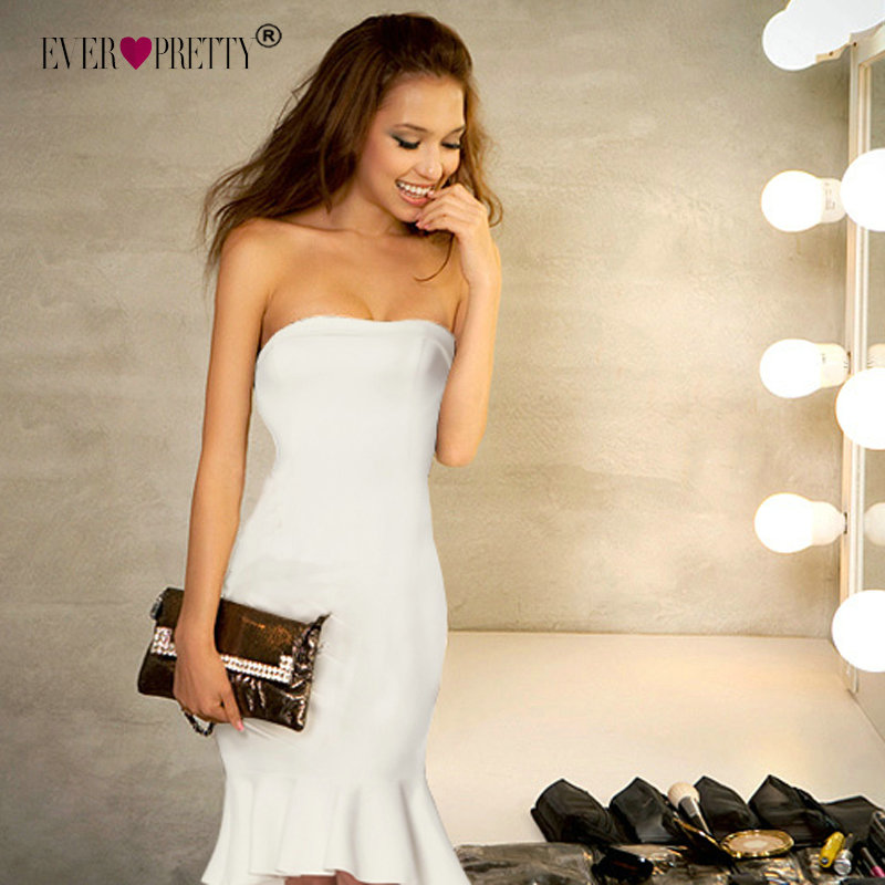 Ever Pretty Fashion White   Cocktail     Dresses   A Line V-Neck Backless vestidos coctel mujer 2018 Split Tea-Length Casual Party Gown