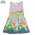 2016 Summer Baby Girls Kids Fashion O-Neck Sleeveless Bow Floral Print Vest Kids A-Line Dress Drop Shipping