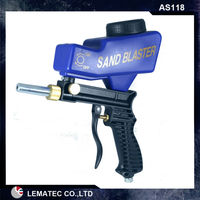 6 Sets Sandblasting Gun LEMATEC Hand Held Portable Air Sandblaster Gravity Feed Sand Blaster For Remove