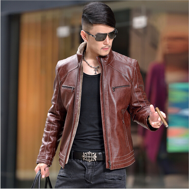 Hot Sale!The New Winter 2015 Men's Fashion Leather Jacket High Quality Sheepskin Coat High-end Men's Winter Warm Coat M-4XL