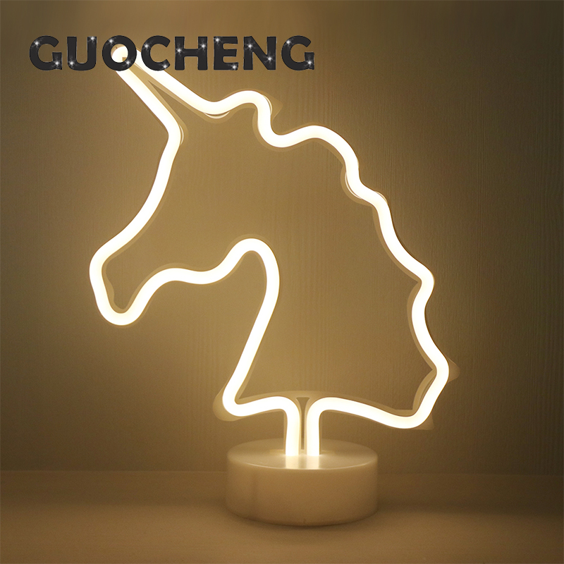 Cute LED White Unicorn Neon Night Light For Kids Childrens Rooms Battery Power Night Lamp Table Lamp Party Decoration Lights