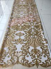 34b5c9cb0470b8 5 yards gelijmd glitter sequin lace stof hot selling Afrikaanse Franse netto  tule Kant Stof yaking-41503 voor avondjurk