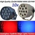 10 xLot Высокое Качество 30 Вт Плоским LED Par Can 12x3 W RGBW Диско DJ DMX Света Этапа Лазерный Луч Проектора Lumiere Контроллер оборудование