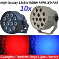 10xLot High Quality 30W Flat LED Par Can 12x3W RGBW DJ Disco DMX Stage Lights Laser Beam Projector Lumiere Controller Equipment