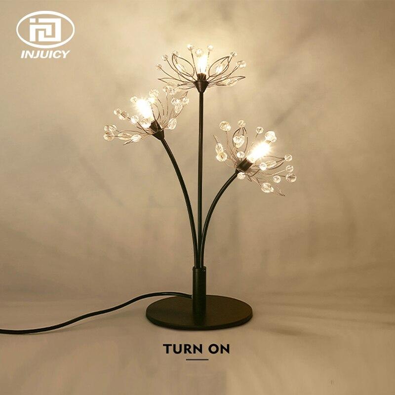 Romantic Dandelion Crystal LED Bedside Table Lamp Metal Night Light Branch Flower Desk Lamp for Study Children's Bedroom Decor