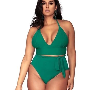 Triángulo Push Up Cintura Bikini Traje De Grande Baño Alta Talla Sólido Tiras Halter dCxhrotsQB