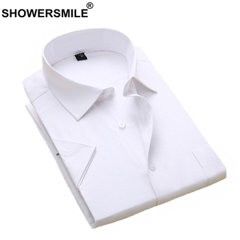 SHOWERSMILE Men Dress Shirts White Formal Shirt Cotton 4xl Summer Business Short Sleeve Shirt Social Solid Plus Size Clothing