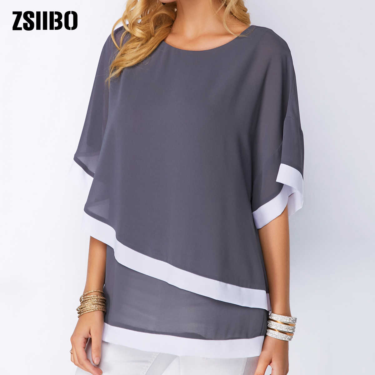 Plus Size Blouses Voor Vrouwen 4xl 5xl Patchwork Dubbele Laag Tops Casual Batwing Tuniek 2019 Herfst Grote Maat Chiffon Shirts