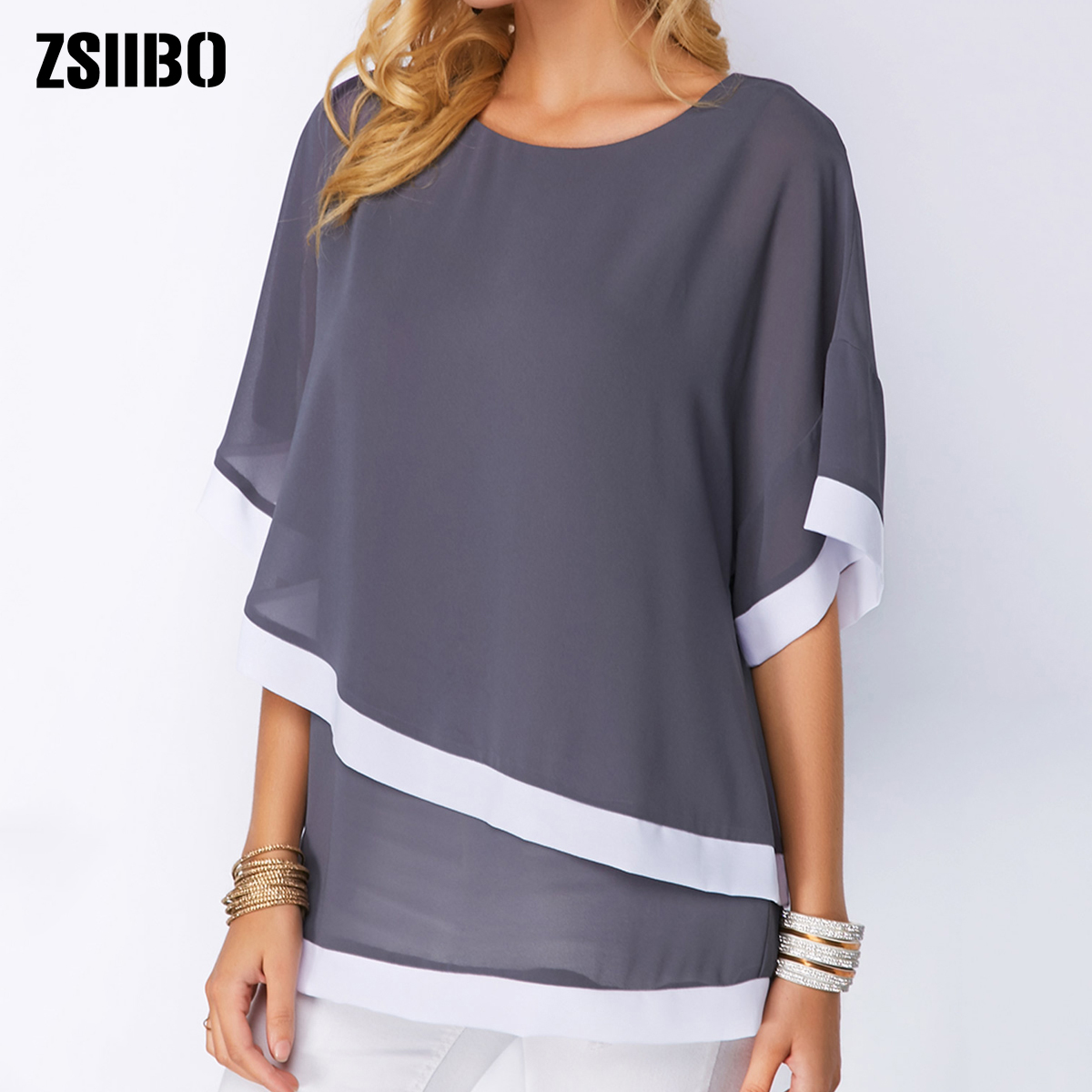 plus size Blouses for women 4xl 5xl Patchwork Double layer Tops Casual Batwing tunic 2019 Autumn Large size Chiffon Shirts(China)