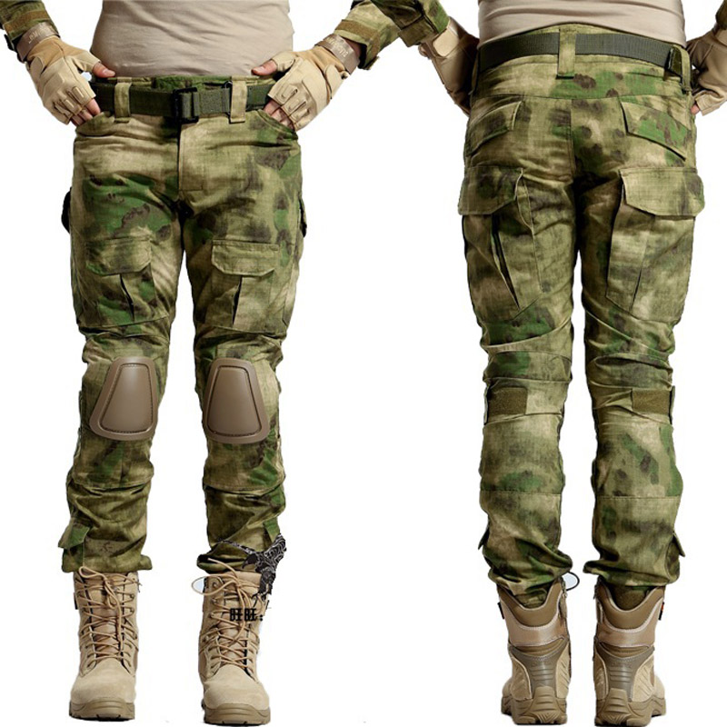 Tactique Camouflage militaire uniforme vêtements costume hommes US armée Multicam Airsoft Combat chemise + Cargo pantalon genouillères - 4