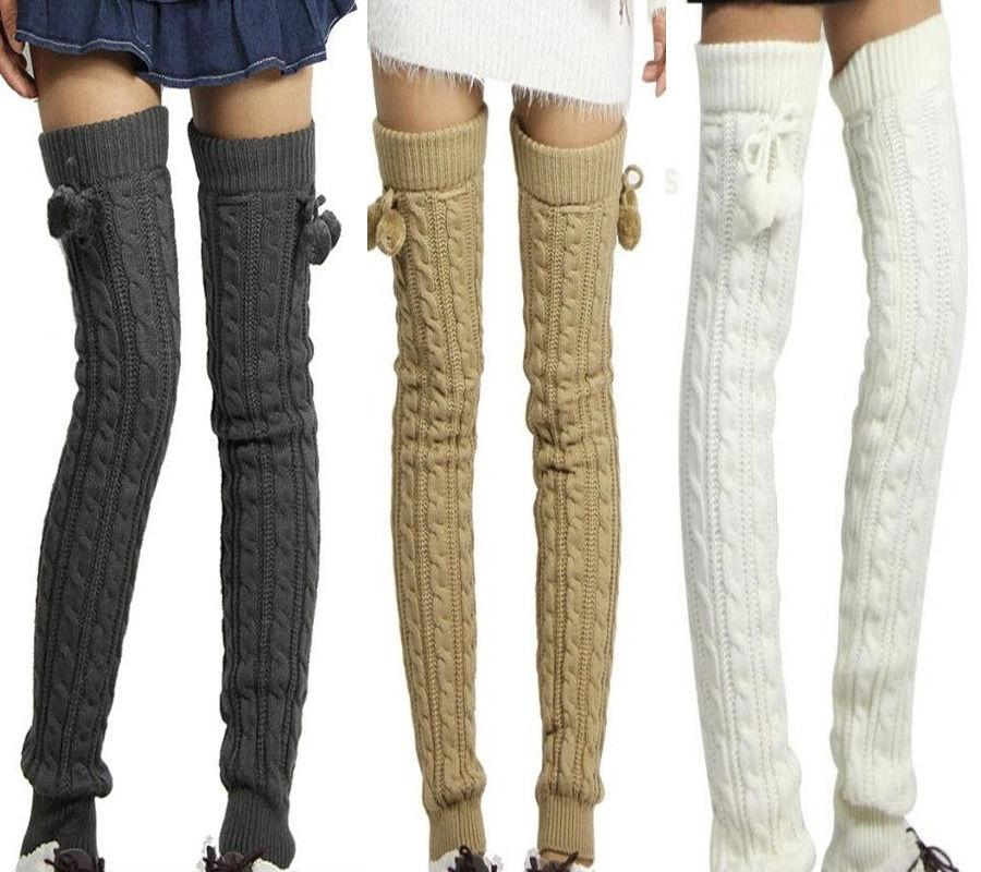 Women Winter Warmers Cotton Thick Crochet Cable Knit Over Knee Long Boot Wool Warm Thigh High Stockings Pantyhose Leg