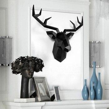 Grande Taille 4 Couleur Disponible Nouvelle Géométrie 3D Animal Tête De Cerf Décoration Murale Tête Résine Mur Ornement Cadeau De Noël Cadeau Créatif