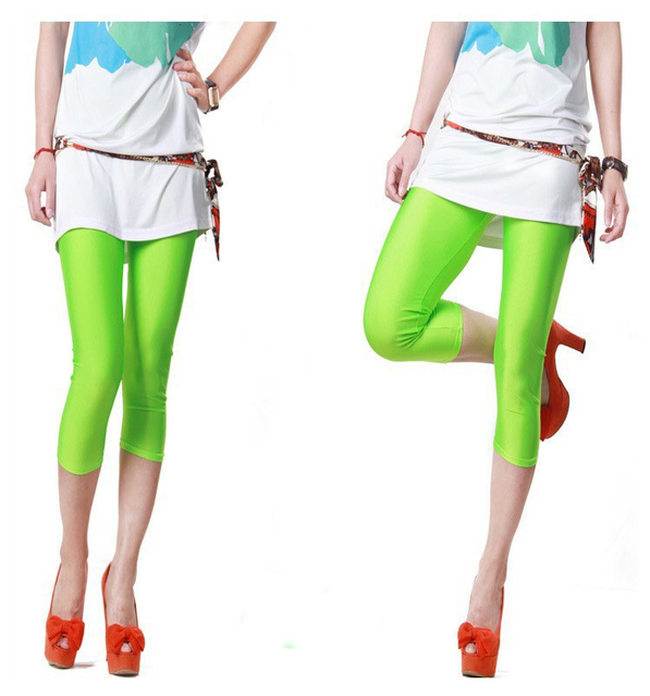 Sexy Solid Candy Neon Women Summer Leggings High Stretched Jeggings Fitness Clothing Ballet Cropped Trousers