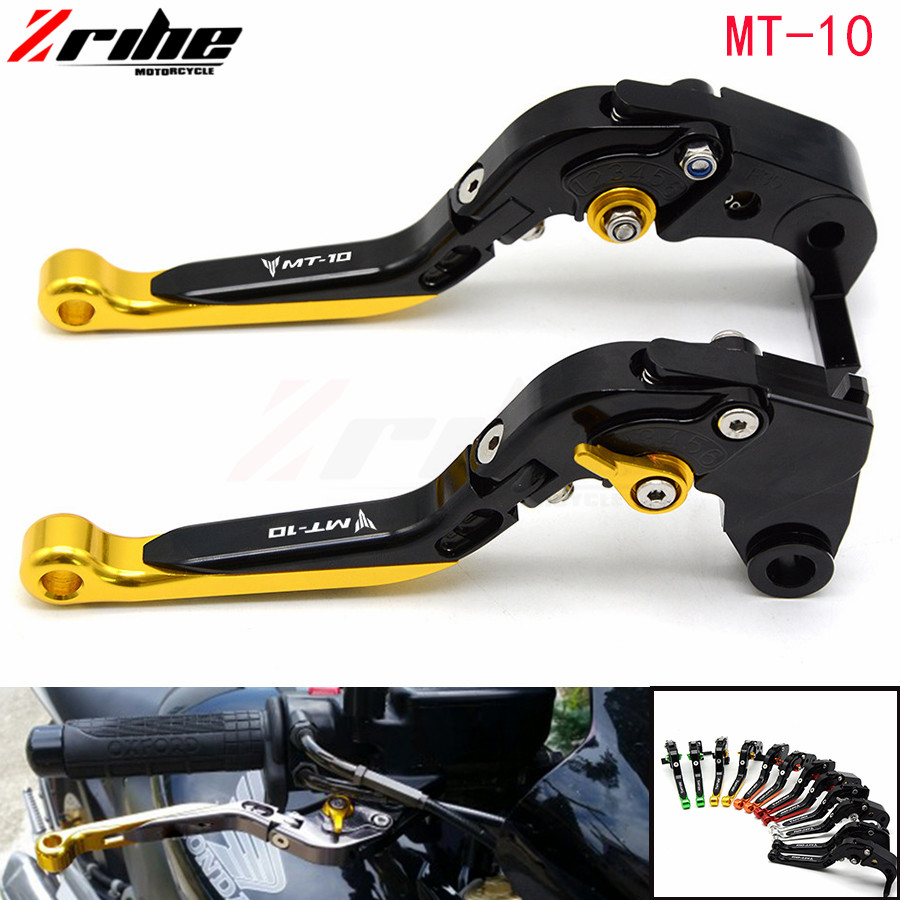 CNC Aluminum alloy Adjustable Folding Extendable Motorcycle Brake Clutch Levers for Yamaha FZ10 MT10 2016 Tracer mt10 mt 09 adjustable cnc billet new aluminum alloy long folding adjustable brake clutch levers for buell 1125r 1125cr 2008 2009 08 09