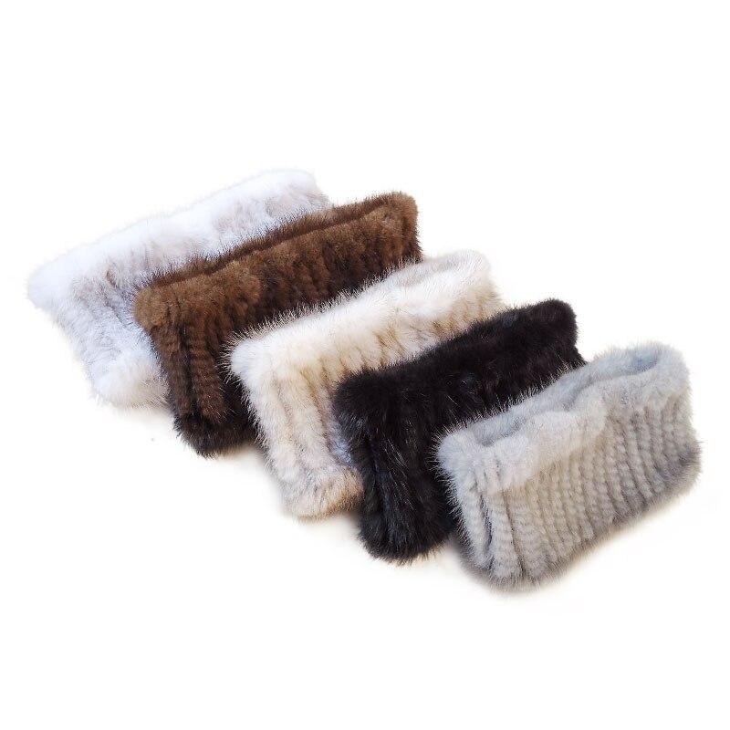 Women Fashion Fur Scarf Mink Knit Scarves Warm Fur Headband