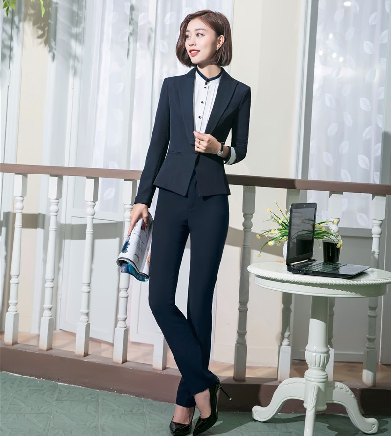 Formal Office Uniform Designs Women Business Suits with Pant and Jacket Sets Ladies Work Wear Blazers OL Styles