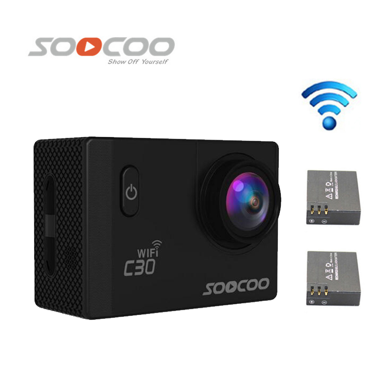 Free Shipping!!SOOCOO C30 Wifi Ultra HD 2K 2.0 Screen 170/120/90 Angle Waterproof Outdoor Sports Camera +Extra 1pcs battery