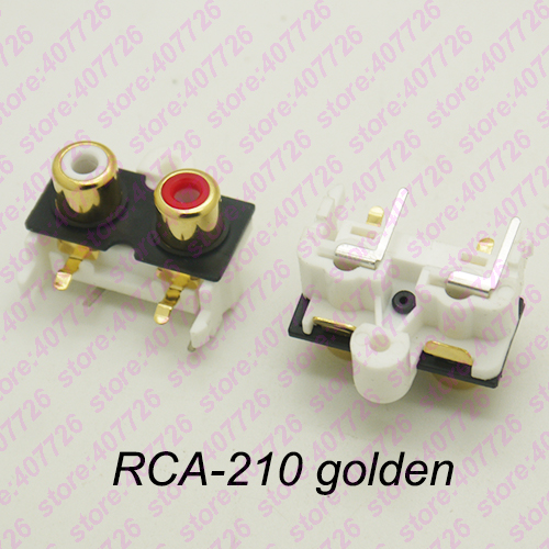 (2PCS/PACK) PCB Mount 1 Position Stereo Audio Video Jack RCA Female Connector TWO Hole (W+R) RCA-210 Golden