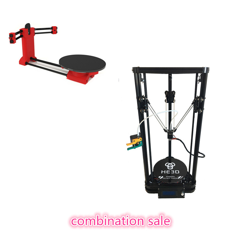combination sale,HE3D K200 delta 3d printer kit with heated bed- support multi material,adding 3d scanner he3d heat bed upgrade kit for k200 3d delta printer