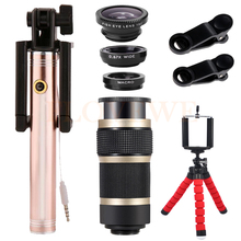 Cheap price 8X Telescopic lens Lens Fish eye Wide Angle Macro Lenses Telephoto Zoom Lentes For iPhone 4 5S SE 5 6 7 Plus Monopod Tripod