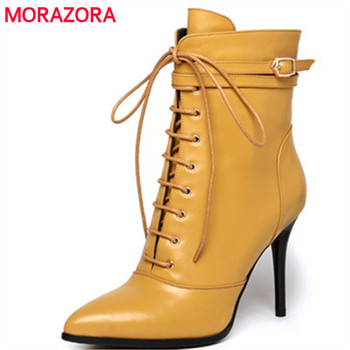 6170466598 MORAZORA tamaño grande 34-43 botas primavera otoño zapatos de cuero genuino mujer  tacones delgados botas de mujer zip sólido moda