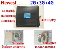 Neueste Heiße GSM 900 mhz DCS 1800 mhz WCDMA 2100 mhz Repeater Tri Band Zellulären Signalverstärker UMTS 2G 3G 4G LTE 1800 mhz verstärker