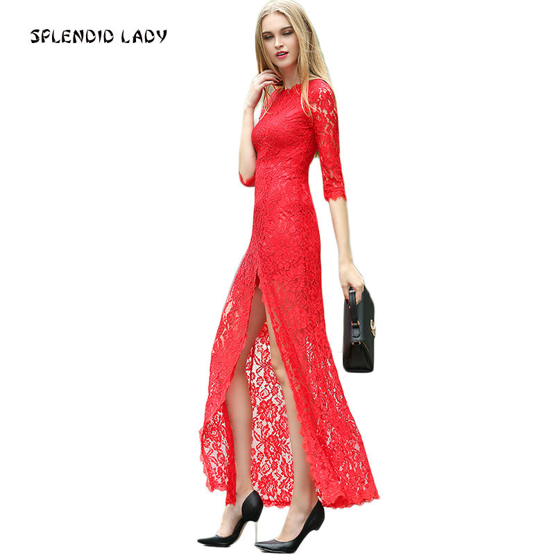Milan Runway High Quality New 2018 Spring Summer WomenS Party Christmas Fashion Star Vintage Sexy Red Long Sleeved Lace Dress