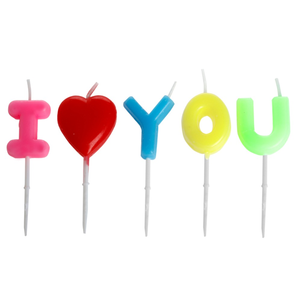 I Love You Letter Happy Birthday Candles Toothpick Cake Party Decor