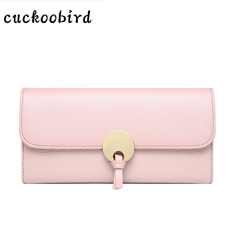 Women Wallets Genuine Leather Pink Wallet Female Long Solid Style Cow Leather Purse Brand Capacity Clutch Card Holder Pouch