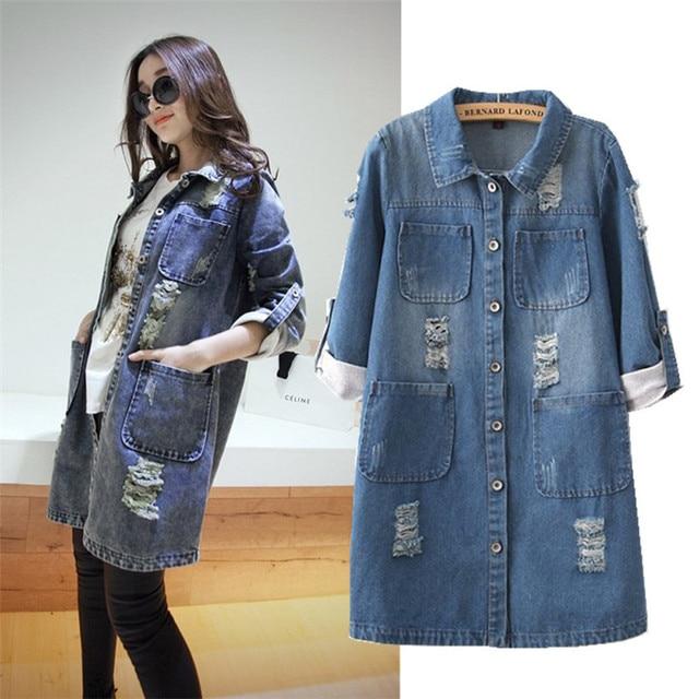 39e0127f679 Oversized Coats Women Denim Jacket Casual Autumn Shirt Jacket Female Long  Jean Denim Jacket Chaquetas Mujer Plus Size 5XL C2419