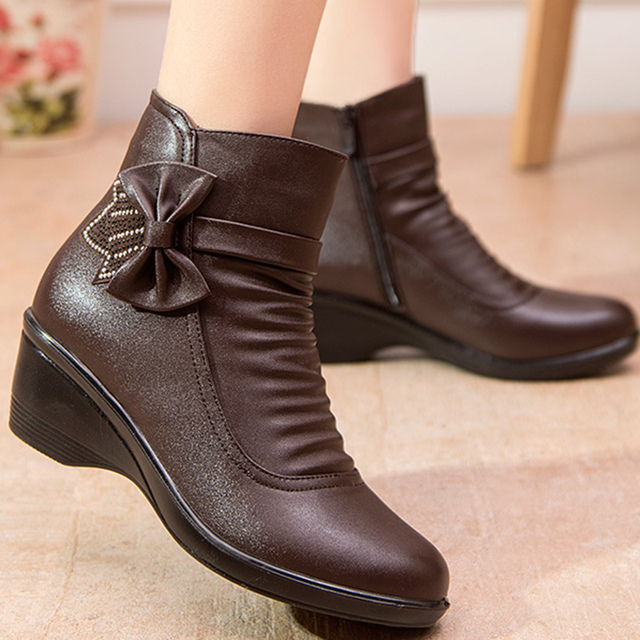 Female boot butterfly knot split leather boots women winter shoes warm plush ankle boots black wedges zip botines mujer 2019 1