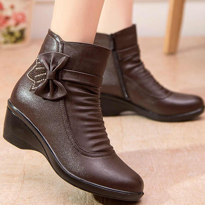 Vrouwelijke boot vlinder knoop split lederen laarzen vrouwen winter schoenen warm pluche enkellaars zwart wiggen zip botines mujer 2019