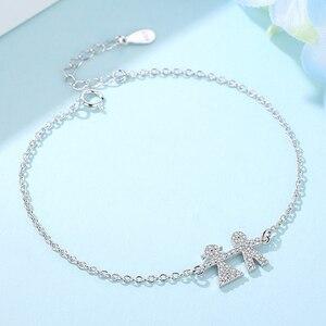 Image 4 - Wholesale 5PCS Trendy 925 Sterling Silver Bracelets Crystal  Person Adjustable Chain Link Bracelet Silver Jewelry For Women