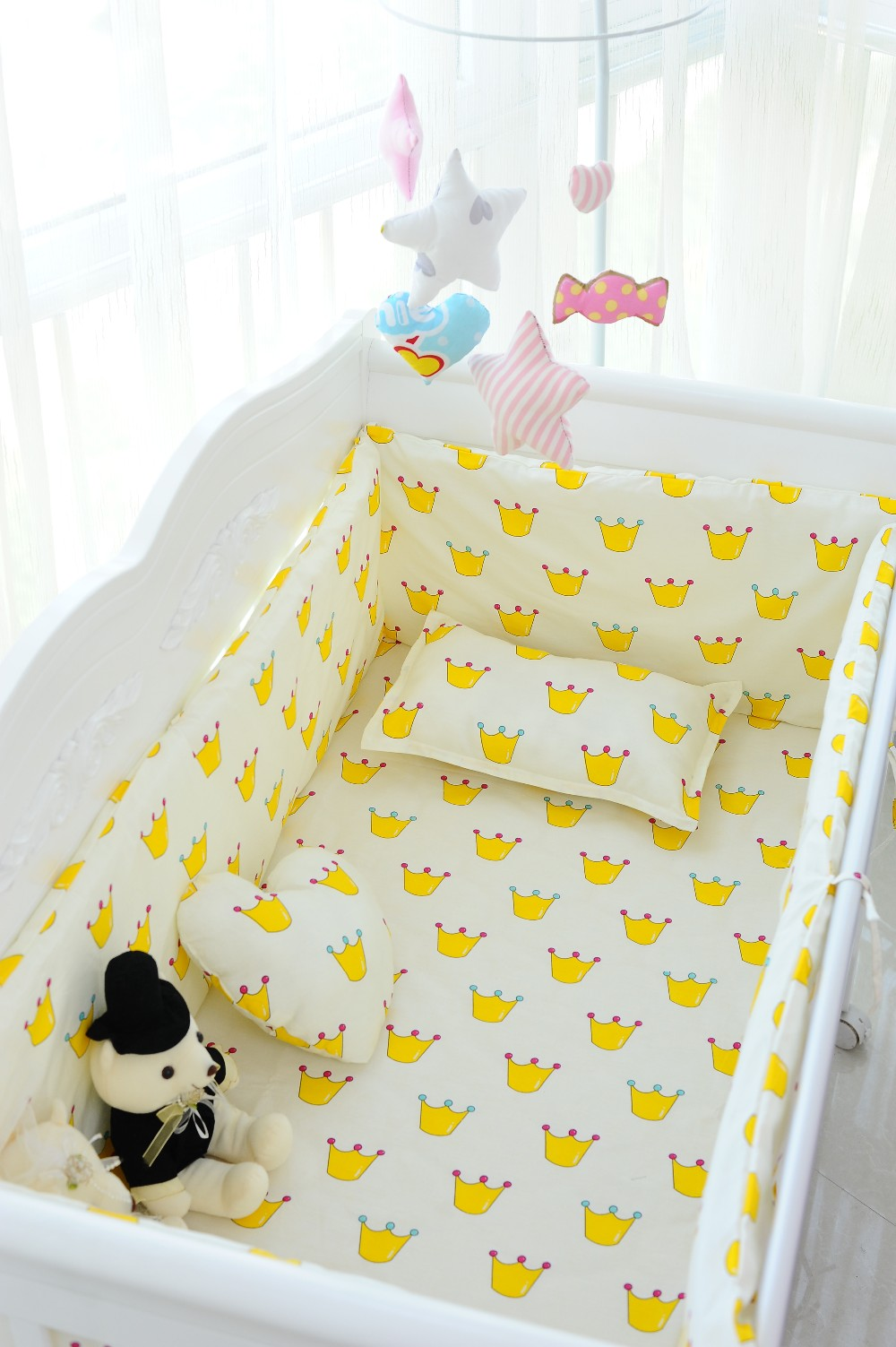 Promotion! 6PCS baby crib bedding set package washable cotton ruffle ultra (bumpers+sheet+pillow cover) home textile washable cotton fitted sheet 4pcs bedding set