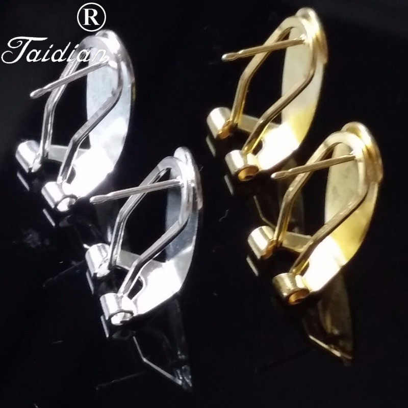Taidian Fingernail Earring Post Silver Fashion Women Jewelry Making Accessories 20 Pieces/lot