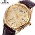 Chenxi casual mens relógios de luxo da marca homens moda relógios caso de ouro & prata calendário pulseira de couro relógio de quartzo relógios relógio masculino