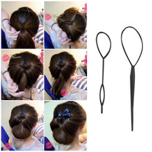 2pcs/set Hair Braid hair style Maker Ponytail Creator Plastic Loop Styling Tools Black Topsy Pony Tail Clip Styling Tool L0024(China)
