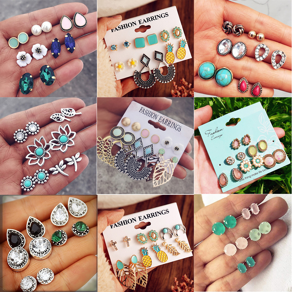Vintage Stud Earrings Set Mixed for Women  1