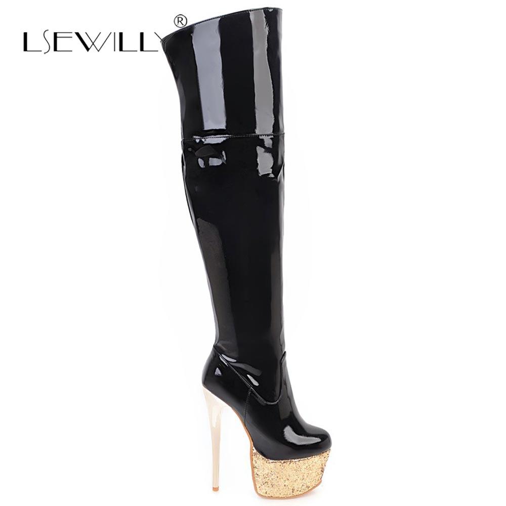 Sur Lsewilly Genou Taille blanc 48 Dames Blanc Femmes Plus Cuissardes Rouge La Chaussures Noir 33 Le Talons Hauts S718 Haute rouge Boot Bottes Noir YSfxqSI