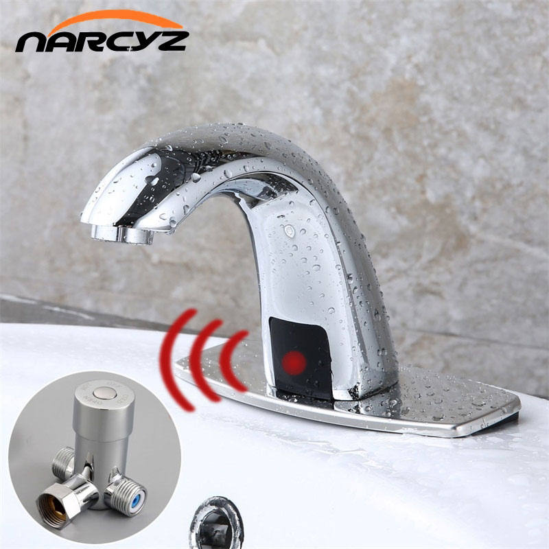 Caliente y frío baño automático Sensor de toque grifos de agua ahorro inductivo eléctrico de agua grifo mezclador batería HZY-12