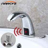 Hot Cold Bathroom Automatic Touch Free Sensor Faucets Water Saving Inductive Electric Water Tap Mixer Battery