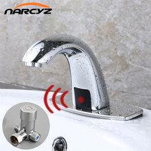 Sıcak ve soğuk banyo otomatik dokunmatik ücretsiz sensör musluk su tasarrufu endüktif elektrikli su musluk bataryası pil güç HZY 12