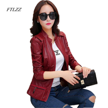 FTLZZ 2017 New Locomotive Small Leather Jacket Woman Spring And Autumn Short Slim Pu Jacket Woman