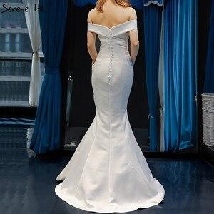 Image 2 - Branco barco pescoço cetim sexy vestidos de noite 2020 de alta qualidade fora do ombro vestido formal simples foto real 66833