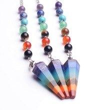 10PC precio al por mayor Natural 7 Chakra cuarzo piedra Dowsing dije de péndulo collar Reiki joyas gargantilla collares con colgantes